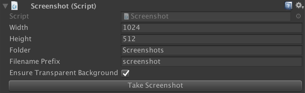 How the Screenshot Component looks in the Editor